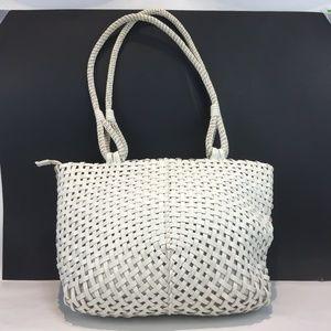 BORSETTA MILANO Large White Leather Shoulder Bag